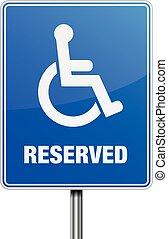 Reserved Parking sign - detailed illustration of a blue...