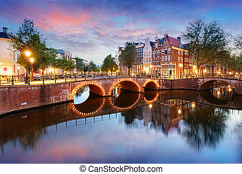 Amsterdam Canals West side at dusk Natherlands, Europe