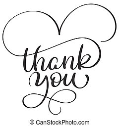 thank you text on white background. Hand drawn Calligraphy lettering Vector illustration EPS10
