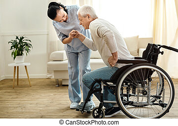 Nice aged man trying to get up - Physical disability. Nice...