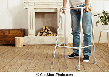 Walking frame being in use - Professional equipment. Close...