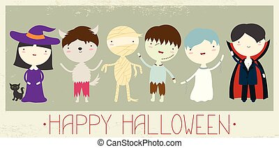 Banners with cute children in monsters masks - Halloween...
