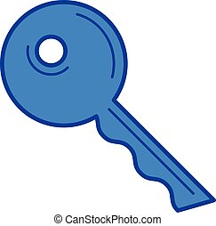 House key line icon. - House key vector line icon isolated...