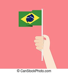 Hand Holding Up Brazil Flag. Vector illustration