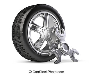 Wheel and spinner wrench. Car service 3d icon.