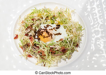 Egg salad confit - Egg salad with duck confit, groumet...