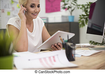 White collar worker in the office interior