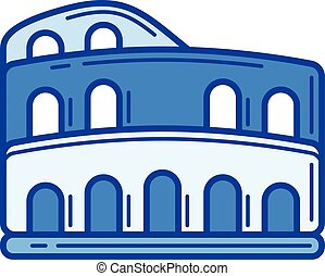 Colosseum line icon. - Colosseum vector line icon isolated...