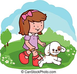 Girl and dog walking at the park