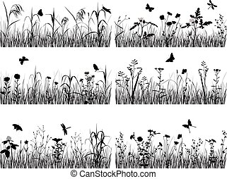 Collection of plants - Collection of silhouettes of flowers...
