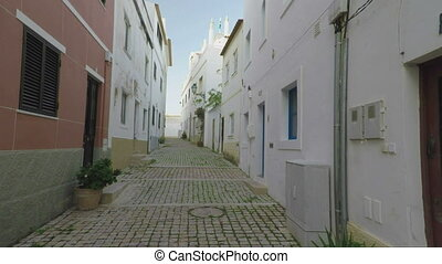 Traditional home streets in old town of Albufeira. -...