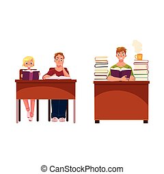 People, couple and man, reading books in library