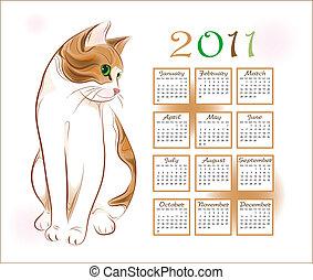 calendar design 2011 with  ginger tabby cat