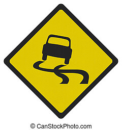 Photo realistic slippery road sign, isolated on white -...