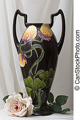 amphora art noveau with artifical rose