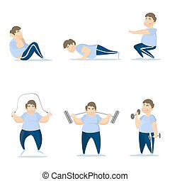 Fat man training. - Fat man training set on white...