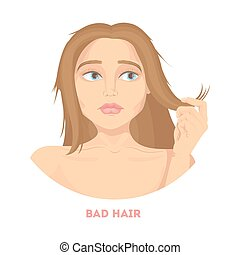 Woman with bad hair. - Woman with bad dry hair on white...