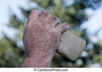 handaxe, sucias, tenencia, mano