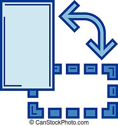 Object rotate line icon. - Object rotate vector line icon...