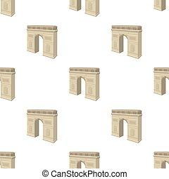 Arc de Triomphe in Paris. Arch Building single icon in...