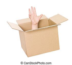 Hand in cardboard box - Hand coming up from a cardboard box...