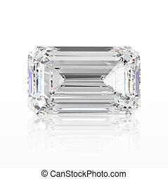 3D illustration emerald diamond stone with reflection