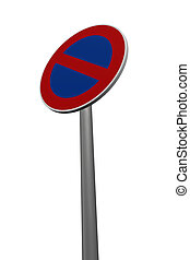 no parking - roadsign no parking on white background - 3d...