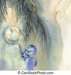 Christmas still-life watercolor background with color...