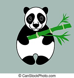 Panda with green bamboo - Black and white panda with green...