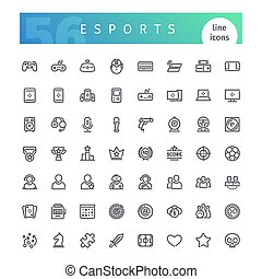 Esports Line Icons Set - Set of 56 cyber sports line icons...