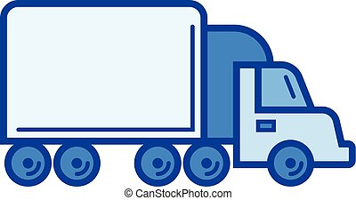 Box truck line icon. - Box truck vector line icon isolated...