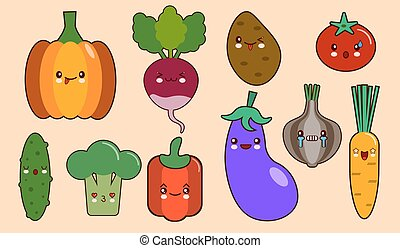set of vegetables smiley face kawaii characters. pepper, tomato, garlic, onion, chili, potato, cucumber. Flat design Vector