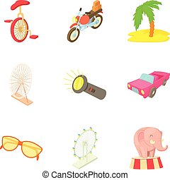 Locale icons set, cartoon style - Locale icons set. Cartoon...