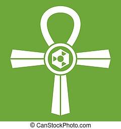 Egypt Ankh symbol icon green - Egypt Ankh symbol icon white...
