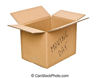 Cardboard box marked Moving Day isolated on white background