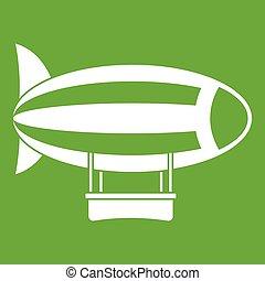 Striped dirigible icon green - Striped dirigible icon white...