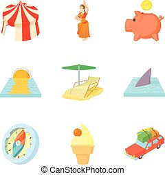 Thrift-box icons set, cartoon style - Thrift-box icons set....