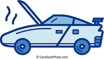 Broken car line icon. - Broken car vector line icon isolated...