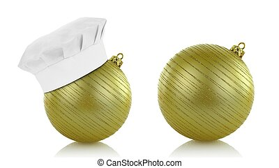 Green christmas balls and chef hat on white background -...