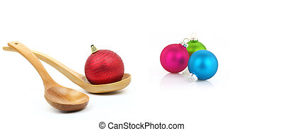 Variety of christmas balls on white background - Variety of...