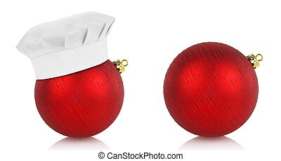 Red christmas balls and chef hat on white background - Red...