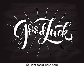 Hand sketched Good Luck lettering typography. Hand sketched...