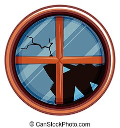 Round window with broken glass illustration