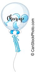 Blue and white balloons with word cheer up illustration