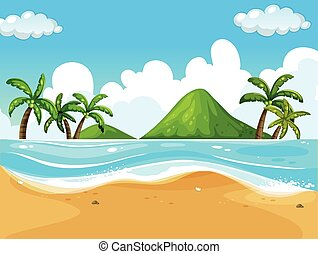 Background scene with beach and ocean