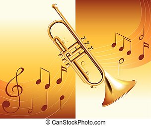 Trumpet and music notes in background