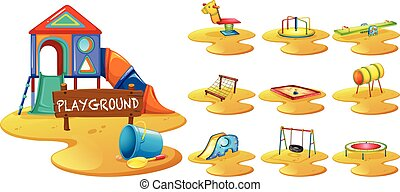 Playground equipments on the playground illustration