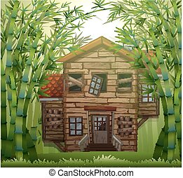 Old wooden house in bamboo forest illustration
