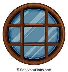 Round window with glass illustration