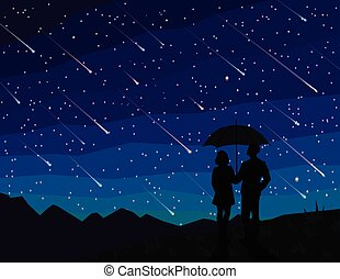 Starfall. Silhouette of couple under umbrella, watching falling stars. The starry night sky. Meteor shower.